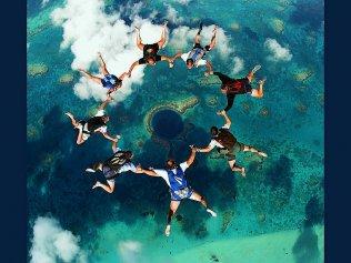 природа, риф, затяжные прыжки с парашютом, Great Blue Hole